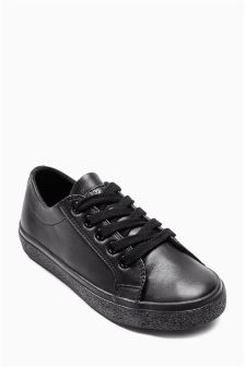 Black Lace Up Pumps (Older Boys)