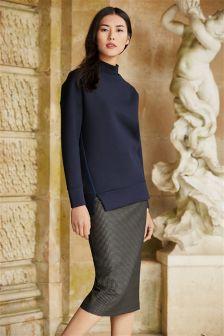 Textured Jacquard Pencil Skirt