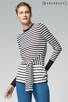 Warehouse Navy Stripe Tie Waist Jumper