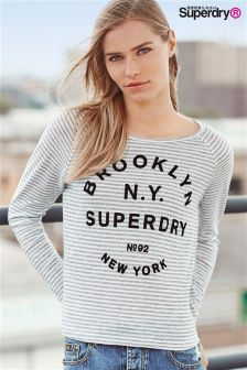 Superdry Grey/White Stripe Vintage Stripe Raglan Top