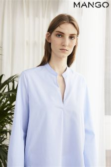 Mango Blue Flared Sleeve Blouse