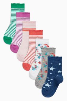Floral/Stripe Seven Pack Socks (Younger Girls)