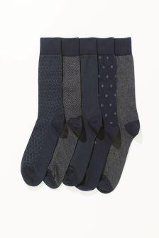 Blue Mix Pattern Socks Five Pack