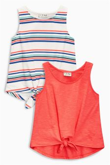 Stripe/Coral Tie Front Vests Two Pack (3-16yrs)