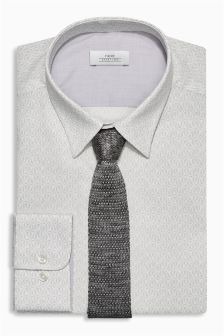 Slim Fit Pattern Shirt And Knitted Tie