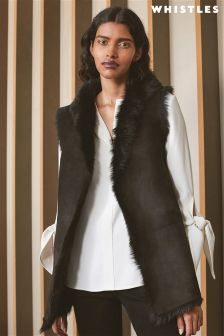 Whistles Black Reversible Shearling Gilet