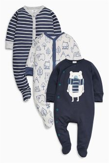 Bear Sleepsuits Three Pack (0mths-2yrs)