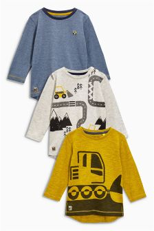 Long Sleeve Digger Tops Three Pack (3mths-6yrs)