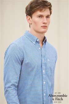 Abercrombie & Fitch Herringbone Blue Gingham Shirt