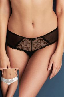 Embroidery Brazilian Briefs Two Pack