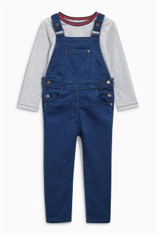 Dungarees With Sporty T-Shirt (3mths-6yrs)