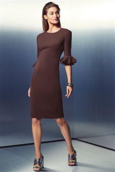 Fluted Sleeve Bodycon Dress