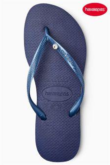 Havaianas® Navy Slim Crystal Glamour Flip Flop