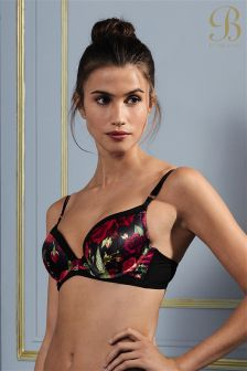 B By Ted Baker Juxtapose Rose Red Floral Plunge Bra