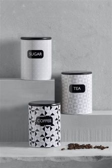 Set Of 3 Geo Storage Tins
