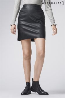 Warehouse Black Faux Leather Clean Skirt