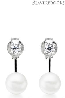 Beaverbrooks Silver Cubic Zirconia Fresh Water Cultured Pearl Earring Jackets