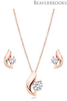 Beaverbrooks Silver Rose Gold Plated Cubic Zirconia Pendant And Earrings Set