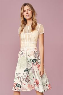 Vintage Caged Prom Printed Dress