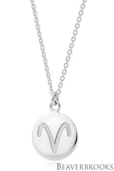 Beaverbrooks Silver Aries Disc Necklace