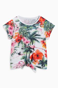 Flamingo Print Tie Front T-Shirt (3-16yrs)