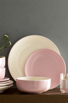 12 Piece Pink Earthenware Dinner Set