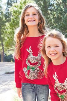 Sequin Cat Crew Christmas Top (3-16yrs)