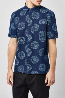 Circle Print Short Sleeve Shirt
