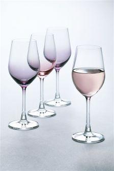 Set Of 4 Crystal Pastel Wine Glasses
