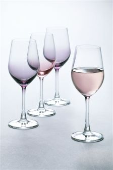 Set Of 4 Crystal Pastel Wine Glasses
