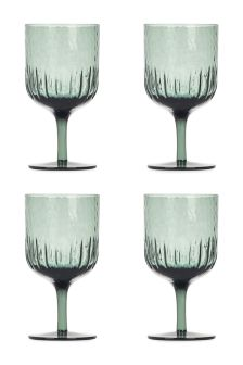 Set Of 4 Handmade Textured Wine Glasses