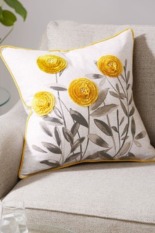 Embroidered Eden Floral Cushion