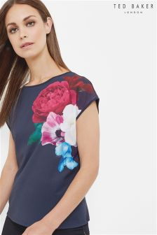 Ted Baker Navy Blushing Bouquet Woven Tee