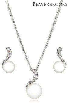 Beaverbrooks Silver Fresh Water Cultured Pearl Cubic Zirconia Pendant and Earring Set