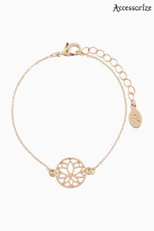 Accessorize Gold Lotus Disc Clasp Bracelet
