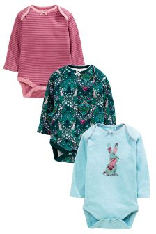 Long Sleeve Bunny Bodysuits 3 Pack (0mths-2yrs)