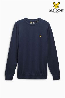 Lyle & Scott Navy Cotton Merino Jumper