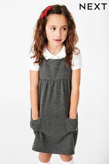 Pocket Jersey Pinafore Dress (3-14yrs)