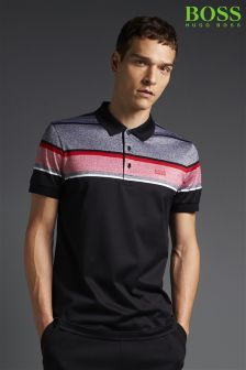 Hugo Boss Green Black Paule Stripe Polo