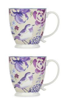 Set Of 2 Floral Bird Mugs