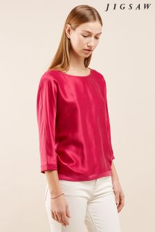 Jigsaw Pink Silk Satin Batwing Top