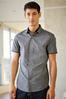 Short Sleeve Contrast Collar Shirt
