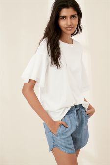 Frill Sleeve Woven Mix Top