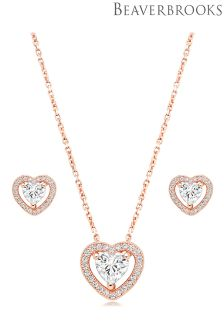 Beaverbrooks Silver Rose Gold Plated Cubic Zirconia Heart Pendant And Earrings Set