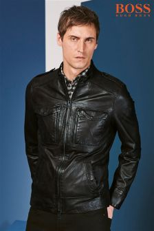 Boss Orange Black Leather Jacket