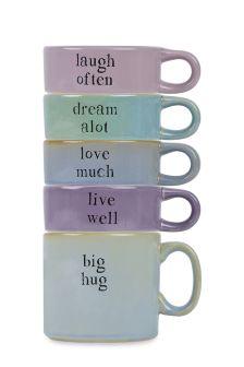 Set Of 5 Slogan Stacking Mugs