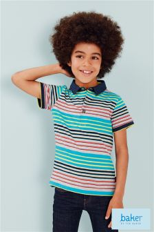 Ted Baker Grey and Multi Stripe Polo