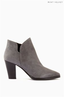 Mint Velvet Grey Poppy Suede Side Split Heeled Ankle Boot
