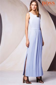 Boss Orange Blue Pleat Maxi Dress