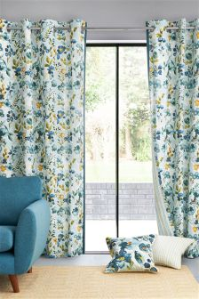 Teal Watercolour Blossom Eyelet Curtains